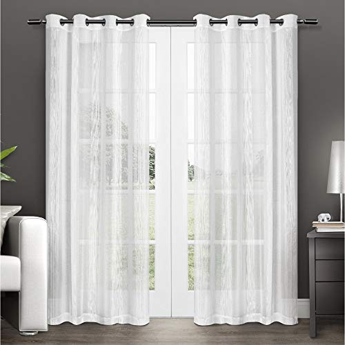 Exclusive Home Curtains Penny Window Curtain Panel Pair with Grommet Top, 50x108, Winter White, 2 Piece ()