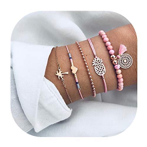 - POYDORA 5 Pcs Layered Beaded Bracelet Set Stackable Wrap Bangle Adjustable Beads Bracelet Natural Stone Link Chain for Women Girls (Pink Set)