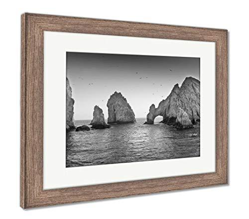 Ashley Framed Prints Lands End, Wall Art Home Decoration, Black/White, 26x30 (Frame Size), Rustic Barn Wood Frame, AG6533845 ()