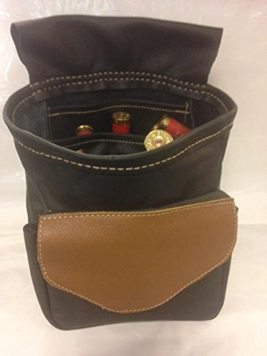 Leder Kartusche Tasche schwarz mit braun Klappe