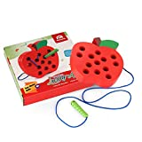 Coogam Wooden Lacing Apple Threading Toys Wood
