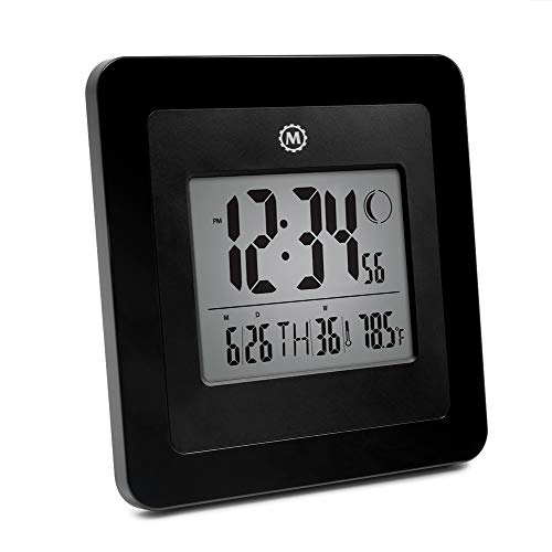 Marathon CL030049-BK Digital Wall Clock with 4.5 Inch Large Display, Moon Phase, Date and Indoor Temperature. (Also Functions as a Jumbo Timer!!!) - Batteries Included. Color- Black