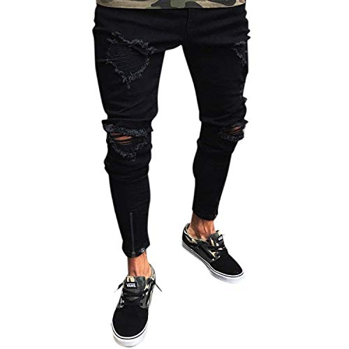 Destroyed Used Fit Denim Casual Abbigliamento Pantaloni Pants Jeans Strappati Nero Da Uomo Slim Stretch Look Ripped UCffqwx0