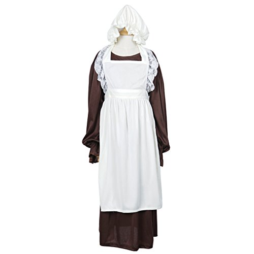 Victorian Dress Kids (FantastCostumes Girl's Victorian Long Apron Costumes Dress with Bonnet(White, M))