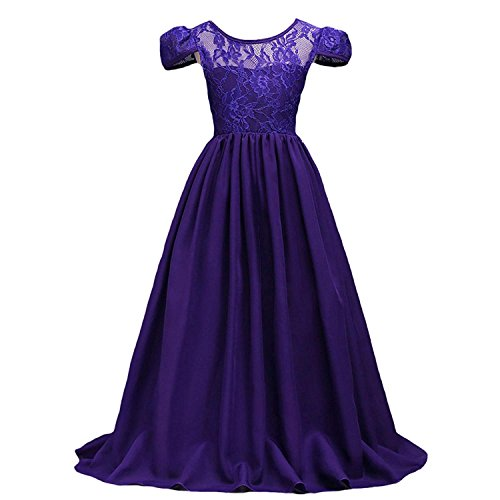 (Lucao Girls Flower Lace Chiffon Princess Dress Long Party Girl Dresses Prom Bridesmaid's)