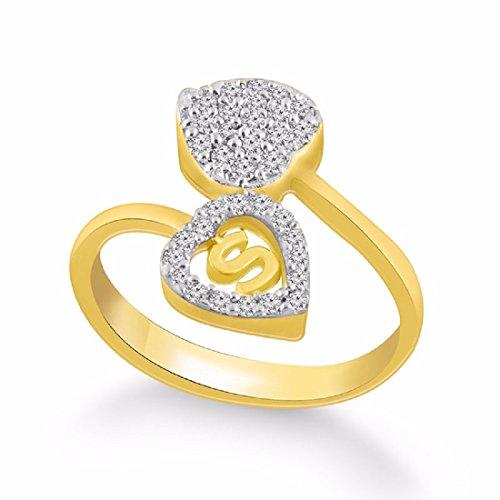 Buy Kanak Jewels Diamond Heart Letter S Gold Plated Ring For Women