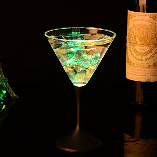 LOHOME® LED Glowing Cup, 8 Oz LED Light Up Flashing Martini Cocktail Glasses Blinking Wine Champagne Glow Cups Barware Stemware (1, (Glowing Glass)
