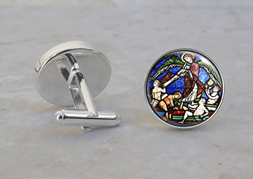 Medieval Stained Glass Church Angel .925 Sterling Silver - Angel Stained Glass