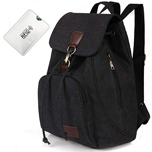 Nordic Outfitters Zipless Backpack with Anti Rfid Card Holder | Anti-Theft Zipless Vintage Canvas Laptop Backpack for Men | School, College, Travel Daypack (Black)