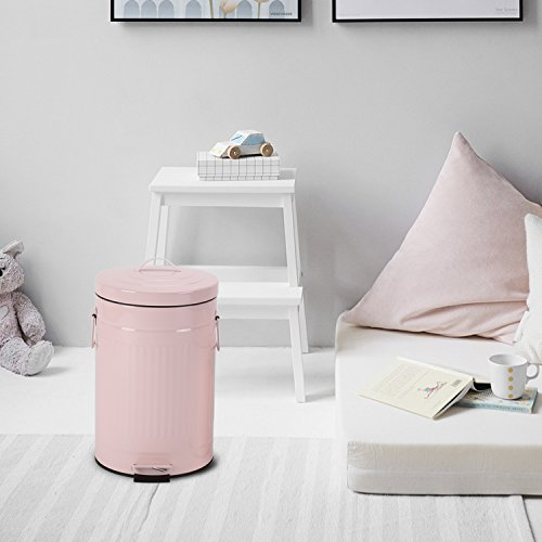 Kitchen Trash Can with Lid, Pink Bathroom Garbage Can, Round Waste Bin Soft Close, Retro Vintage Metal Garbage Bin For Office Foot Pedal Step, 12 Liter/3 Gallon, Glossy Pink by mingol (Image #7)