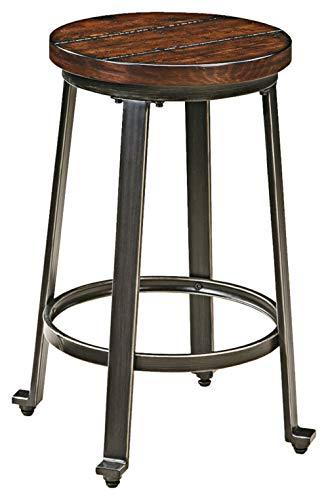 Round Set Bar Stool - Ashley Furniture Signature Design - Challiman Bar Stool - Counter Height - Set of 2 - Rustic Brown