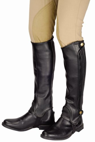 Grain Leather Chaps - TuffRider Grippy Grain Half Chaps Medium Black