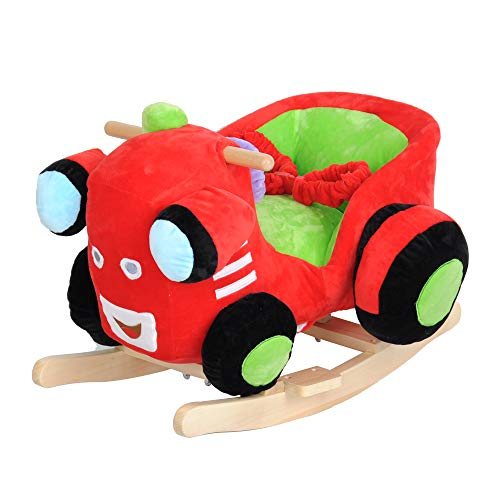 Dporticus Child Rocking Horse Plush Train Rocker Toy with Wheels and Seat Belt Wooden Rocking Horse/Kid Rocking Toy/Baby Rocking Horse/Rocker/Animal Ride (Wooden Train Rocker)