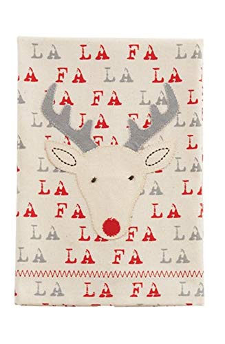 Mud Pie Christmas Character & Sentiment Canvas Hand Towel 21 inch x 14 inch (Reindeer)