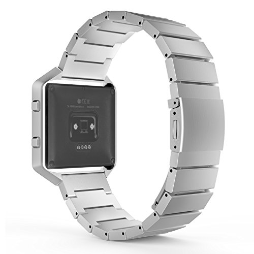 MoKo Fitbit Blaze Band , Stainless Steel Metal Replacement Link Bracelet with Double Button Folding Clasp for Fitbit Blaze Smart Fitness Watch, Frame NOT Included - SILVER by MoKo