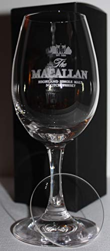 MACALLAN SCOTCH WHISKY GLENCAIRN COPITA NOSING GLASS WITH WATCH GLASS COVER