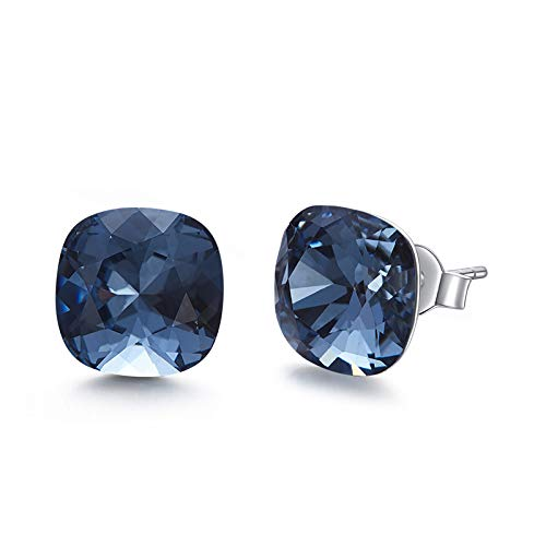 SNOWH Stud Earrings for Women-CZ Rhinestone Earrings Cushion Shaped with Swarovski Crystals for Wedding, Prom, Daily Wear,Jewelry Gifts - Swarovski Rhinestones Sapphire