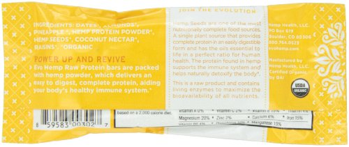 Evo Hemp - Pineapple Almond Plus Protein Bar (Single Bar) - Power-Packed Healthy Snacks - Best Fruit and Nut Bars With Omega 3s, Hemp Protein and Fiber - 100% Organic Snacks With Amazing Taste