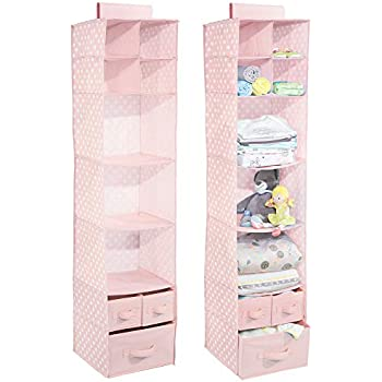MDesign Soft Fabric Over Closet Rod Hanging Storage Organizer 7 Shelves 3  Removable Drawers Child/Kids Bedrooms Nursery   2 Pack, Polka Dot Pattern,  ...