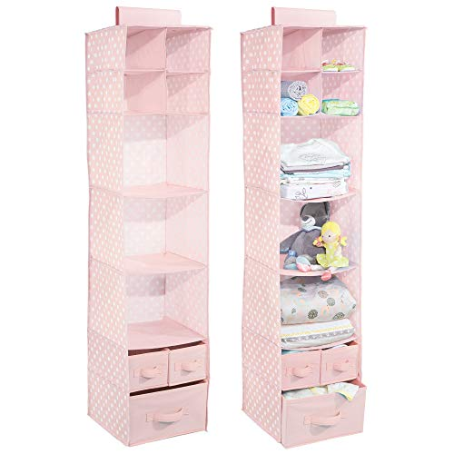 Pink 3 Fabric Storage - mDesign Soft Fabric Over Closet Rod Hanging Storage Organizer with 7 Shelves and 3 Removable Drawers for Child/Kids Bedrooms or Nursery - 2 Pack, Polka Dot Pattern, Pink with White Dots