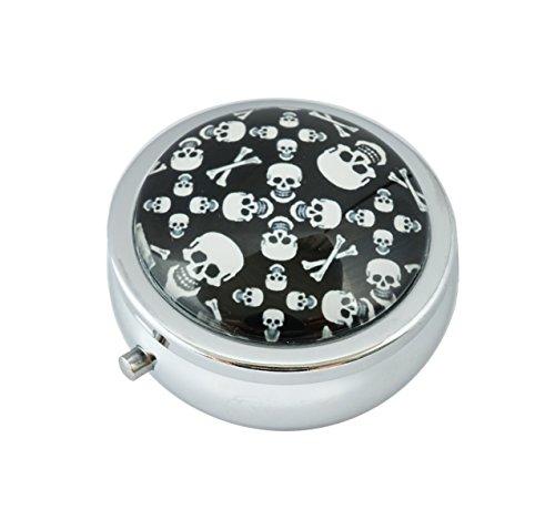 Skull Round Steel Case - Halulu Skull Custom Fashion Round Glass Pill Case 2.1 Inch Tablet Holder Storage Bag Wallet