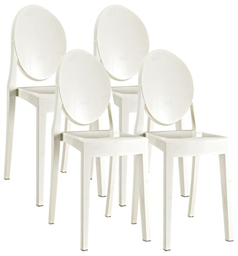 Emorden Furniture Classic Louis XV-style Ghost Chair(3 Colors Available), Set of 4, Polycarbonate Plastic Armless Dinning Chair in White Transparent Crystal