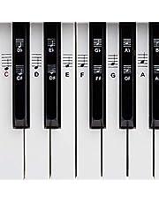 Piano- och tangentbordsmusik klistermärke för 49/61/76/88 tangenter + gratis eBook, premium pianoklistermärke komplett set för svart och vitt C, D, E, F, G, A-H/enkla instruktioner på tyska