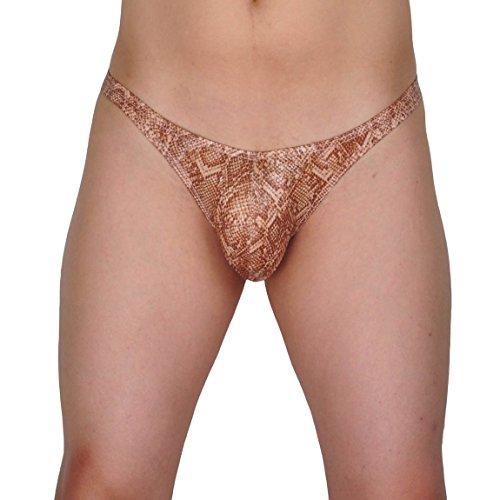 Men's Snakeskin Pattern Thong Mini Bikini Sexy Men Underwear Pouch G-string Briefs T-Back L (Snake Skin Pattern)