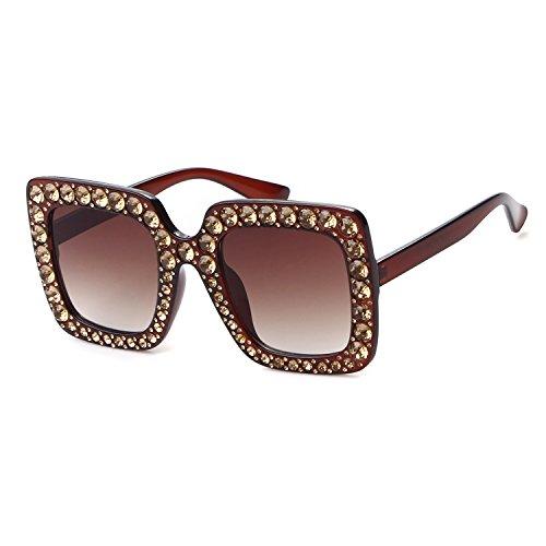 Crystal Rim Women Sunglasses Retro Brand Desginer Square Oversize Sun - Glasses 70s Frames