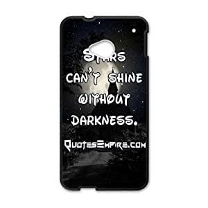 "Canting_Good ""Stars Can't Shine Without Darkness"" Black and White Custom Case Shell Cover for HTC One M7(Laser Technology)"