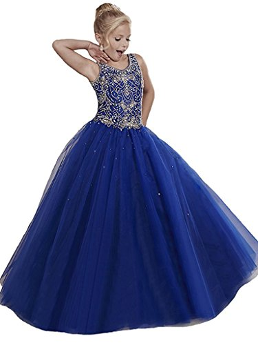 WZY Girls Pageant Dresses Handmade Beading Flower Girl Birthday Party Gowns US 12 Royal Blue by WZY