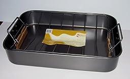 Large Nonstick Roasting Lasagna Pan with V-Rack 17 x 12 x 3\