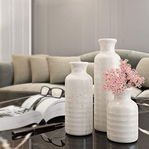 "Sullivans Small Ceramic Vase Set of Three (3), 5"", 7.5"" & 10"" Tall, Modern Farmhouse Off-White Crackled Finish Faux… 5"