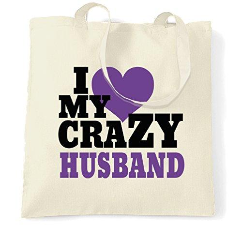 I Love My Wife Pazzo Sposa Anniversario Famiglia Cuore Amore Partner Sacchetto Di Tote Natural