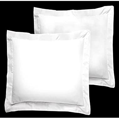 American Pillowcase White Pillow Shams Set of 2 - Luxury 300 Thread Count 100% Egyptian Cotton (2 Pack, Euro 26x26)