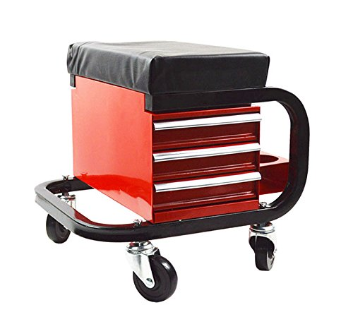 ees.Work Seat Chair Bench Toolbox Bin Storage Organizer Cart 3-drawer Pulley Toolbox