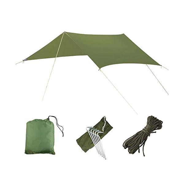 AYAMAYA-Camping-Tarp-Shelter-Rain-Fly-for-TentHammock-10-x-10-Feet-Silver-Coated-Waterproof-Hammock-Tarps-Rainfly-Lightweight-Rip-Stop-Multifunction-Ground-Cloth-Sunshade-Mat-for-Picnic-Travelling