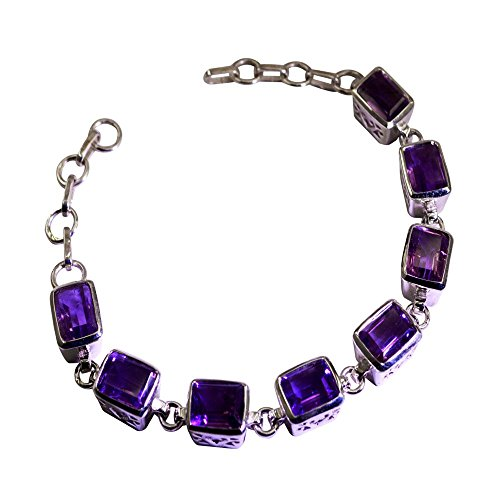Genuine Amethyst Sterling Silver Bracelet For Women Gemstone Style February Birthstone Length 6.5-8 Inch by 55Carat