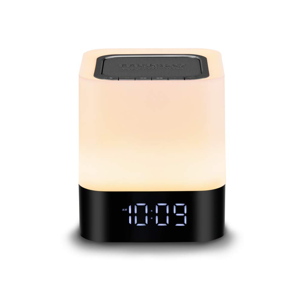 Night lights Bluetooth Speaker,Bluetooth Alarm Clock Bedside Lamp for Kids Wireless Bluetooth Stereo Speaker Touch Sensor LED Night Light Color Changing Table Lamps Support MP3, USB, AUX VEHOLiON BS-0