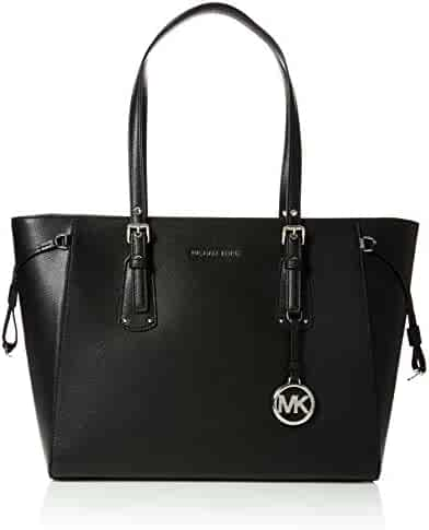 Michael Kors Womens Voyager Canvas and Beach Tote Bag Black (BLACK)