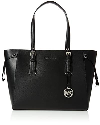 Michael Kors black leather tote | Michael Kors Womens Voyager Canvas and Beach Tote Bag Black (BLACK)