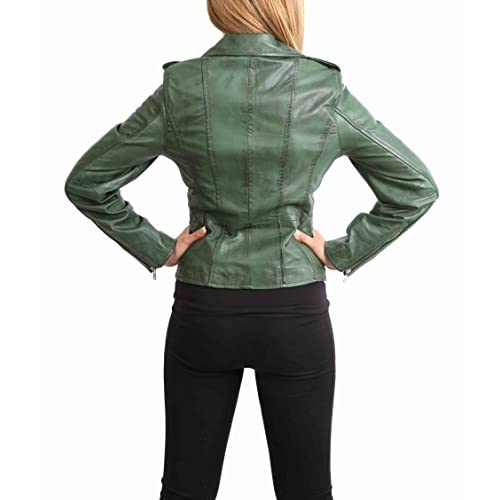 e61a7880f577 Womens Real Leather Biker Motorcycle Style Fitted Cross Zip Jacket Cara  Green