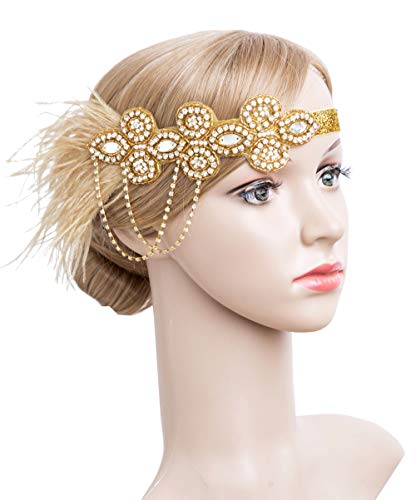 (1920s Flapper Peacock Feather Headband Great Gatsby Bridal Crystal Headpiece Apricot)