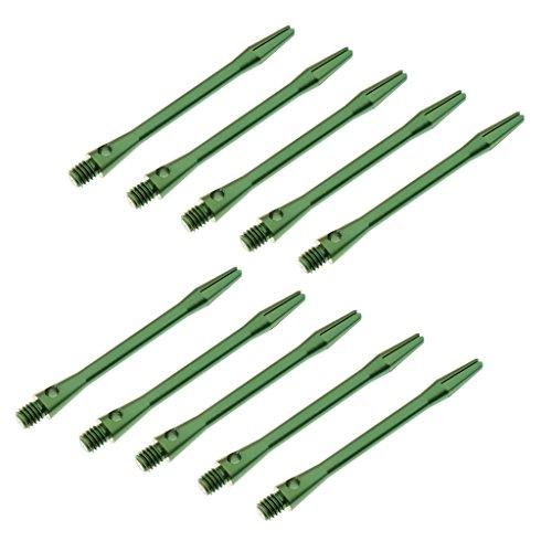 Perfk 練習用 10本入り 金属感 52mm 頑丈 合金 トレーニング ダーツシャフト 交換ツール  - 緑