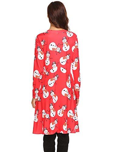 Ruffles High Sleeve Casual Women's Beyove Loose E Dress christmas Shirt red Low Swing T Hem Long xCUwaB