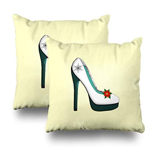 Darkchocl Set of 2 Daily Decoration Throw Pillow Covers Modern Age Christmas Stiletto Design Square Pillowcase Cushion for Couch Sofa or Bed Modern Quality Design Cotton and Polyester 18