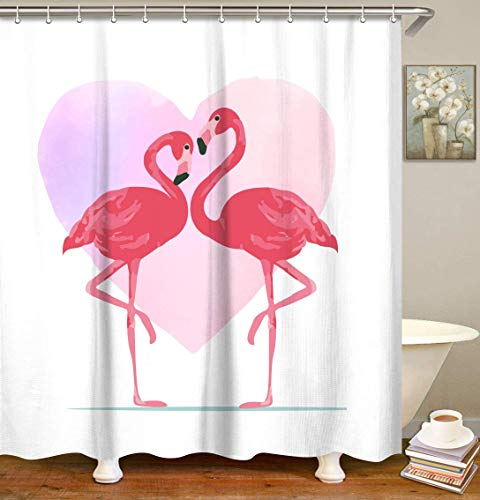 LIVILAN Pink Flamingo Shower Curtain Set with 12 Hooks Bathroom Shower Curtain Love Heart Shower Curtain Bath Curtain 70.8