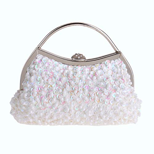 Evening White MMYOMI Beaded Prom Vintage Party Crossbody Ladies Sequin Bag Clutch Handbag Bridal Wedding OOaPr5wq