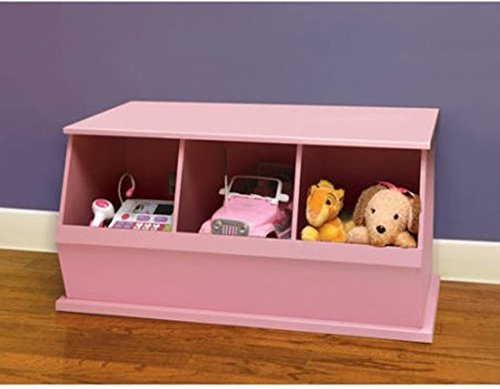 Stackable Three-Bin Storage Cubby, Pink, Great for Kids when Learning to Sort, Organize, and Clean-up, Made with a Non-toxic Finish, Solid Panel Construction, Bundle with Expert Guide for Better Life