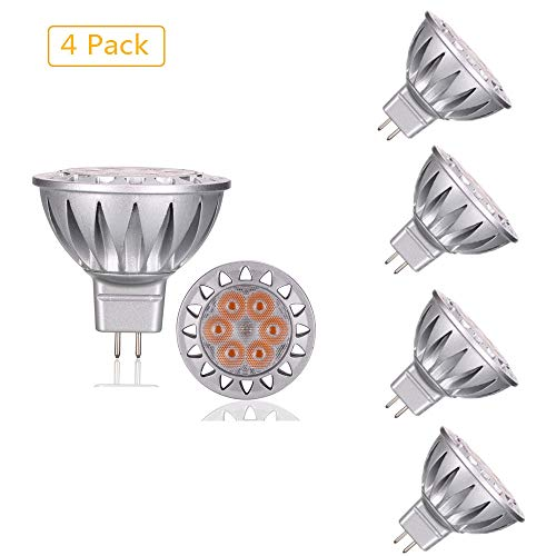 EBD Lighting MR16 LED Bulbs(4 Pack) 7W AC/DC 12V 6000K Cool White 70W Halogen Bulbs Equivalent Non-dimmable GU5.3 Bi-Pin Base LED Bulbs for Outdoor Landscape Lighting and Indoor Recessed/Track Lights